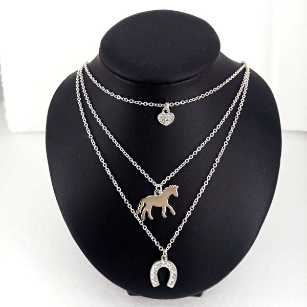 3 Layers horse necklace