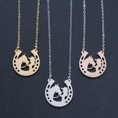 Girl Horseshoe Shape Pendant Necklace Jewelry - HorseObox