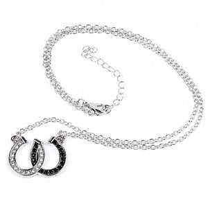 Lucky Rhinestone Double Black White Color Horseshoe Pendant Necklace