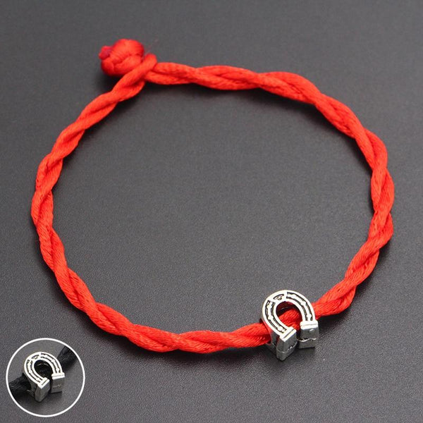 Cute Horseshoe Beads 4mm Red Thread String Bracelet - HorseObox