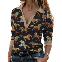 Load image into Gallery viewer, V Neck Horse Print Loose T-shirt