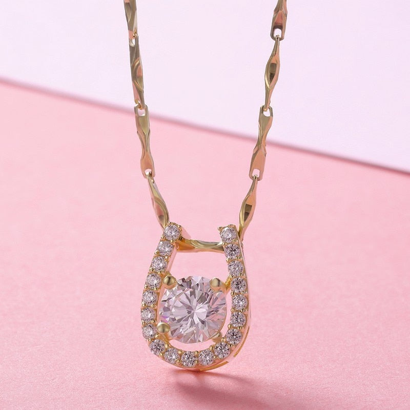 Gold Color CZ U Shape Horseshoe Pendant Necklace
