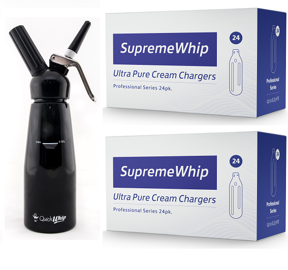 Starter Pack - SupremeWhip Cream Chargers – 192 - (8 x 24Pks)  & 0.5L Black Dispenser