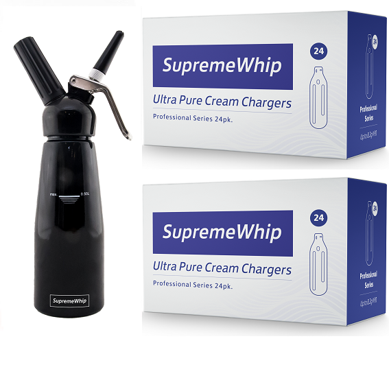 Starter Pack - SupremeWhip Cream Chargers – 600 - (25 x 24Pks)  & 0.5L Black Dispenser