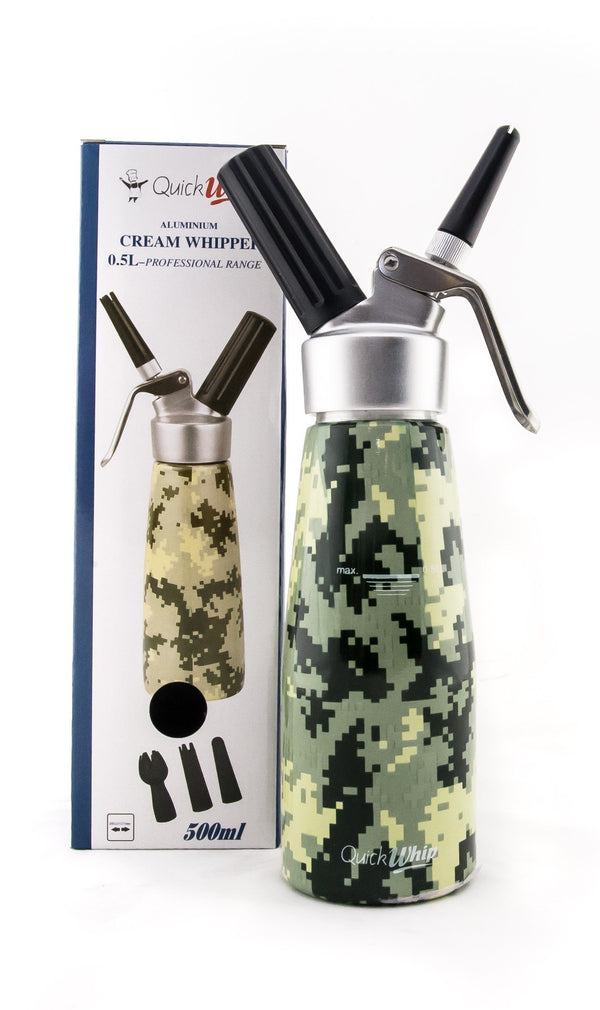 Starter Pack - SupremeWhip Cream Chargers – 96 - (4 x 24Pks)  & 0.5L Army Print Dispenser