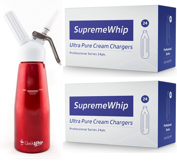 Starter Pack - SupremeWhip Cream Chargers – 600 - (25 x 24Pks)  & 0.5L Red Dispenser