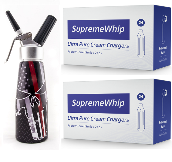 Starter Pack - SupremeWhip Cream Chargers – 192 - (8 x 24Pks)  & 0.5L Skull Print Dispenser
