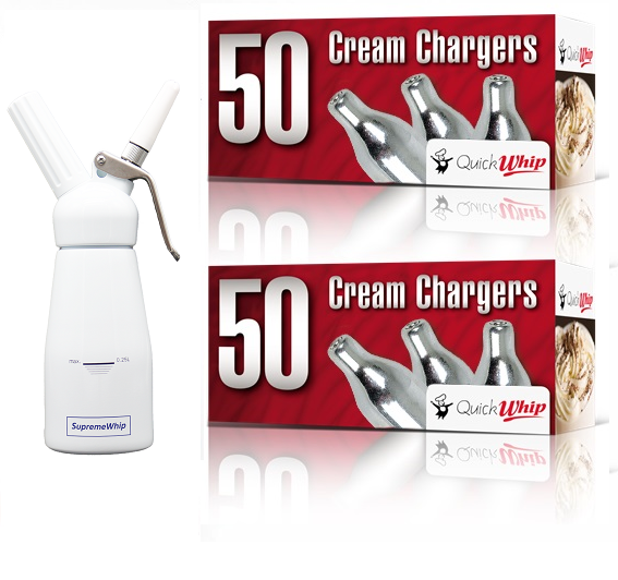 Starter Pack - QuickWhip Cream Chargers – 600 - (12 x 50Pks)  & 0.25L SupremeWhip Dispenser White