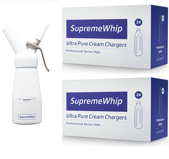 Starter Pack - SupremeWhip Cream Chargers – 600 - (25 x 24Pks)  & 0.25L White Dispenser