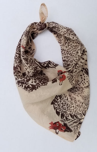 Naturally dyed organic cotton bandana, heritage chicken print tied