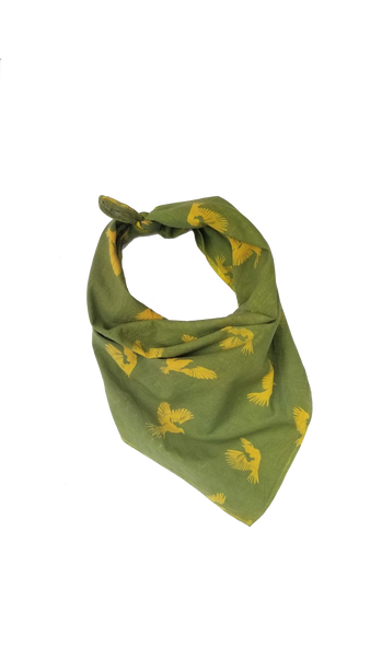 Naturally dyed organic cotton bandana, green and gold birds in flight print