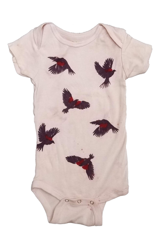 Naturally dyed baby onesie, red-wing black bird print