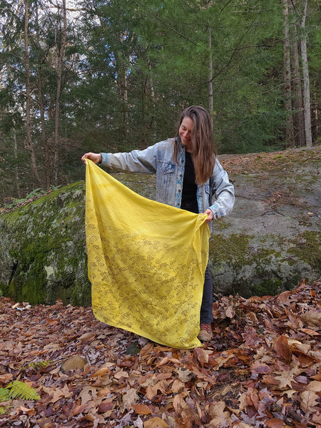 naturally dyed shawl, floral print in sunshine