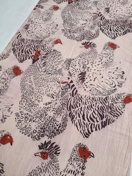 naturally dyed scarf, chicken print detail