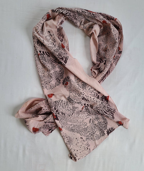 naturally dyed scarf, chicken print draped