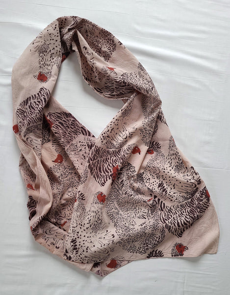 naturally dyed scarf, chicken pattern, draped