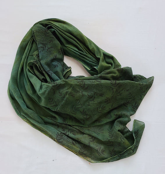 naturally dyed emerald forest shawl, draped