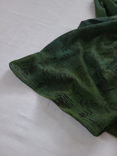 naturally dyed emerald forest shawl, fabric detail