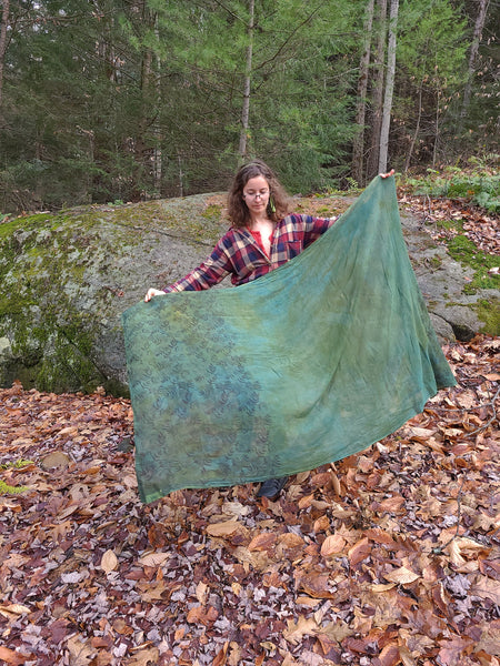 naturally dyed emerald forest shawl, held for scale