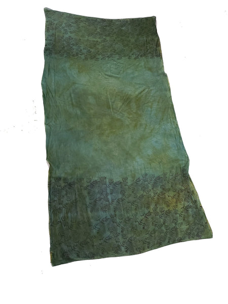 naturally dyed emerald forest shawl, full