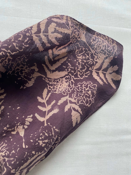 naturally dyed bandana, eggplant floral print, fabric detail