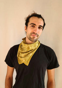 naturally dyed bandana, floral print in ochre, on jon