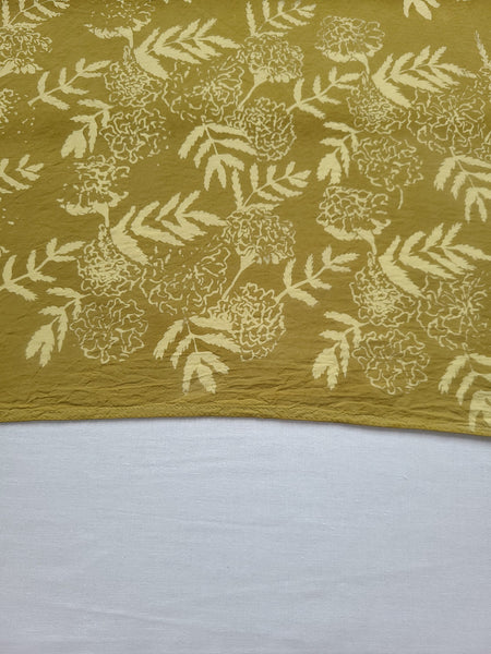 naturally dyed bandana, floral print in ochre, detail