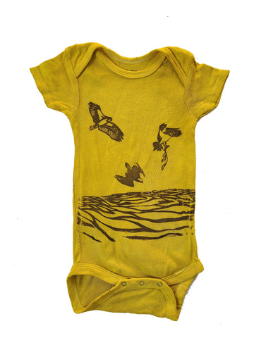 naturally dyed baby onesie, osprey print yellow