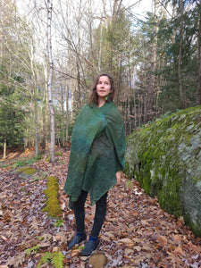 naturally dyed emerald forest shawl, on rachel outside