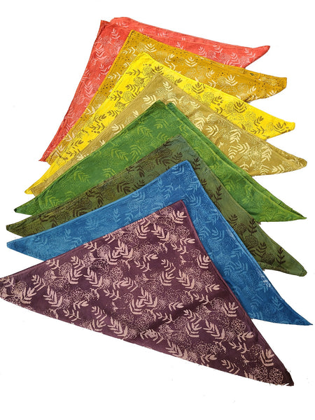 naturally dyed bandanas, rainbow colors group