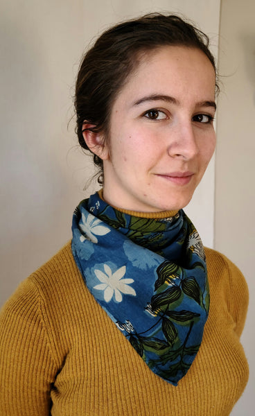 naturally dyed bandana, spring ephemerals print, on rachel