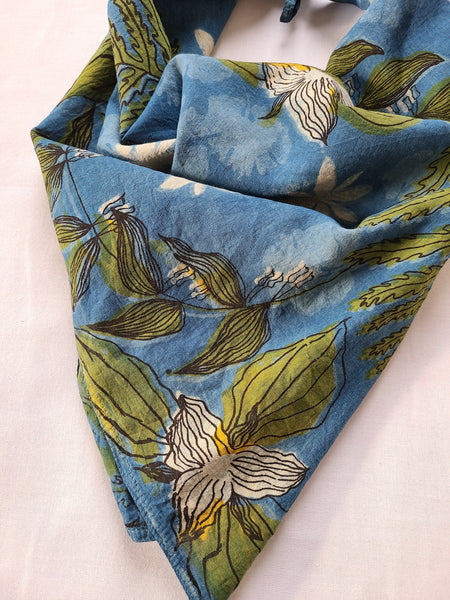 naturally dyed bandana, spring ephemerals print, fabric detail