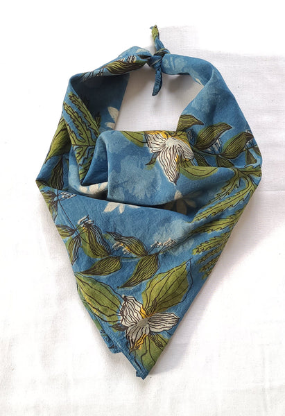 naturally dyed bandana, spring ephemerals print, tied