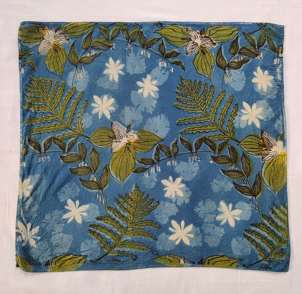 naturally dyed bandana, spring ephemerals print, full