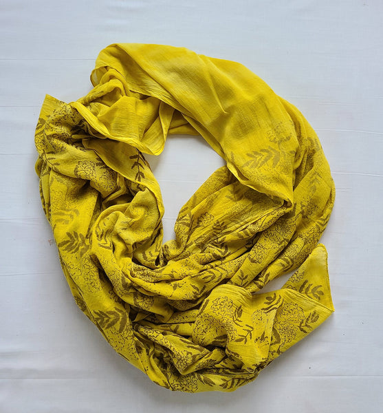 naturally dyed shawl, floral print in sunshine draped