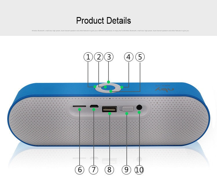 Dual Bass Bluetooth Speaker with USB and TF Card Slot