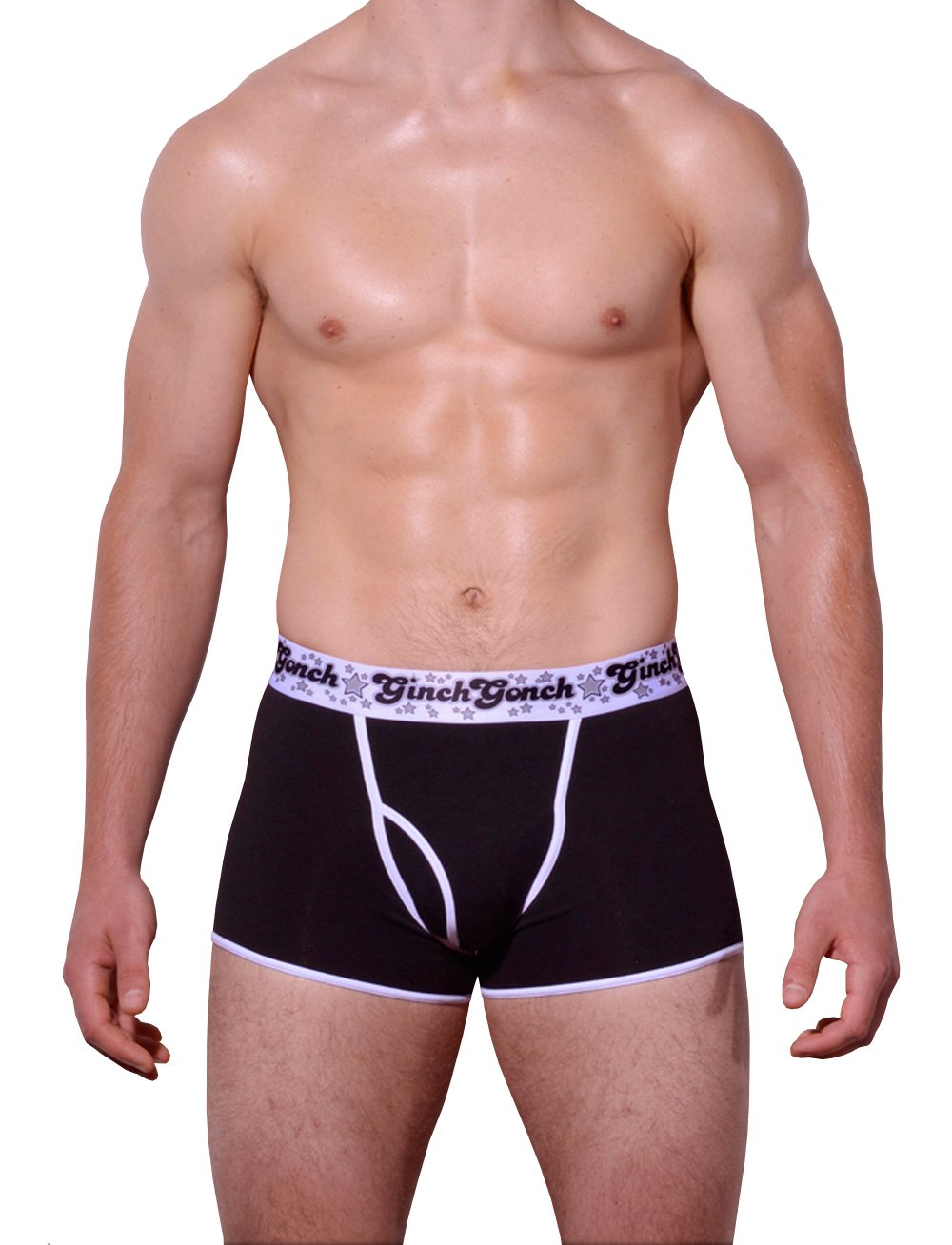 Ginch Gonch Black Magic Trunk Boxer Brief Black men's underwear with black panels and white trim binding printed waistband front