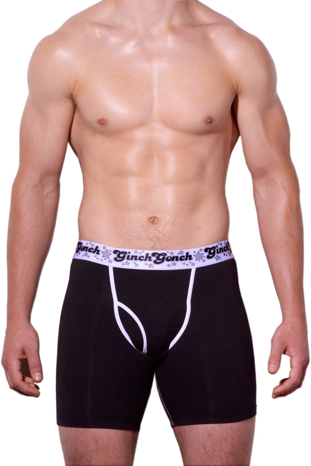 Ginch Gonch Black Magic Boxer Brief Black men's underwear with black panels and white trim binding printed waistband front