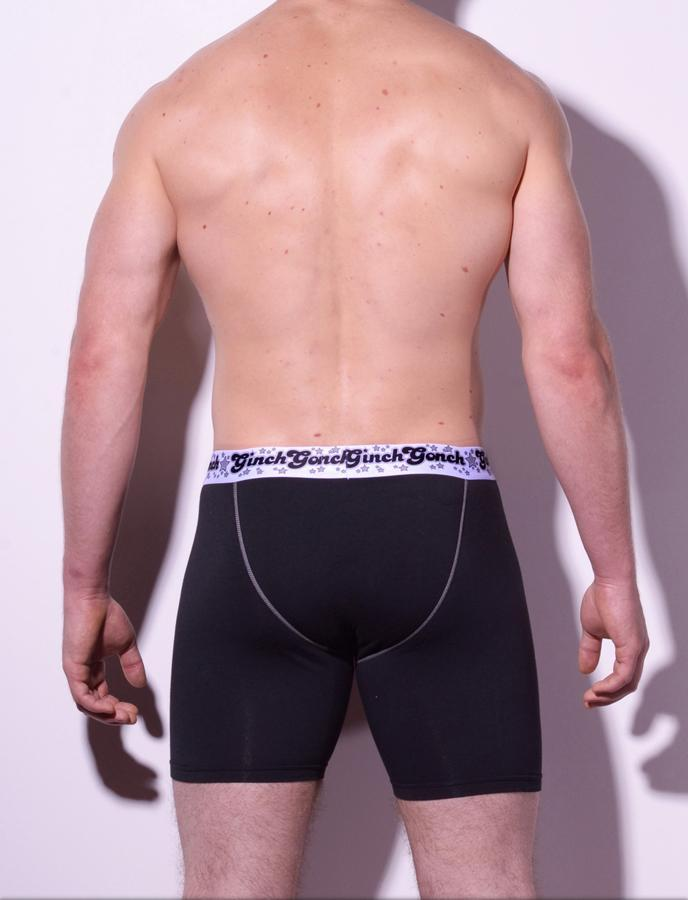 Ginch Gonch Black Magic Boxer Brief Black men's underwear with black panels and white trim binding printed waistband back