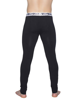 Ginch Gonch Black Magic Men's legging long john Black with black stitching white printed waistband back