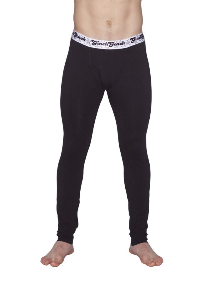 Ginch Gonch Black Magic Men's legging long john Black with black stitching white printed waistband