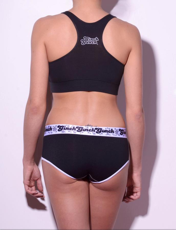 Ginch Gonch Black Magic Brief - Women's Underwear black jockey y front with white trim and printed waistband back