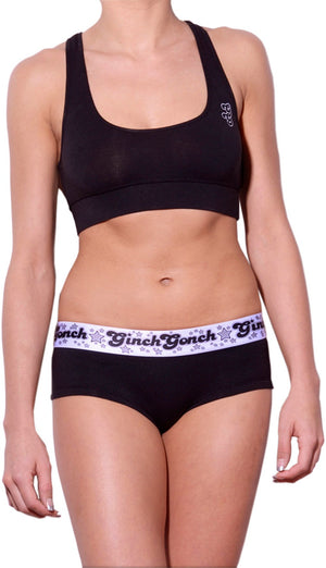 Ginch Gonch Black Magic Brief - Women's Underwear black boy cut gogo with white printed waistband front matching black sports bra with gg logo left side