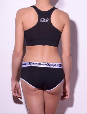 Ginch Gonch black magic women's sports bra gg logo center back outlined in white