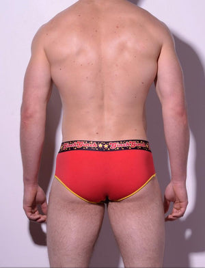 Atomic Fireballs Brief Men's Underwear Red and Black panels yellow trim printed waistband back