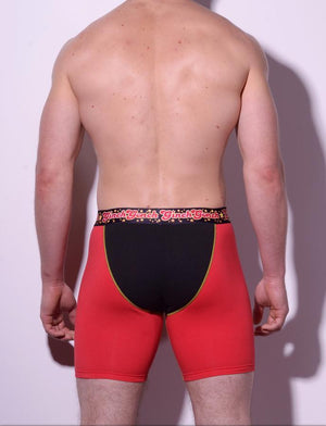 Atomic Fireballs Boxer Brief Trunk Men's Underwear Red and Black panels yellow trim printed waistband back