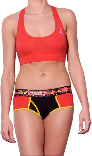 Atomic Fireballs boy cut Brief Women's Underwear Red and Black panels yellow trim printed waistband front