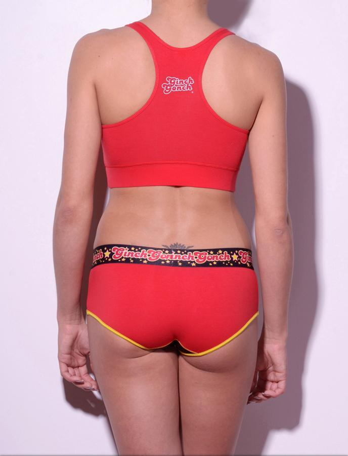 Atomic Fireballs boy cut Brief Women's Underwear Red and Black panels yellow trim printed waistband back