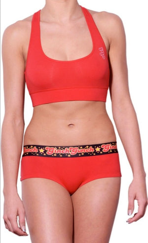 Atomic Fireballs Brief gogo women's Underwear Red and Black printed waistband front matching red sports bra
