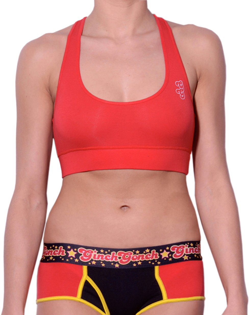 Ginch Gonch Atomic Fireballs Red Women's sports bra with logo on left side front